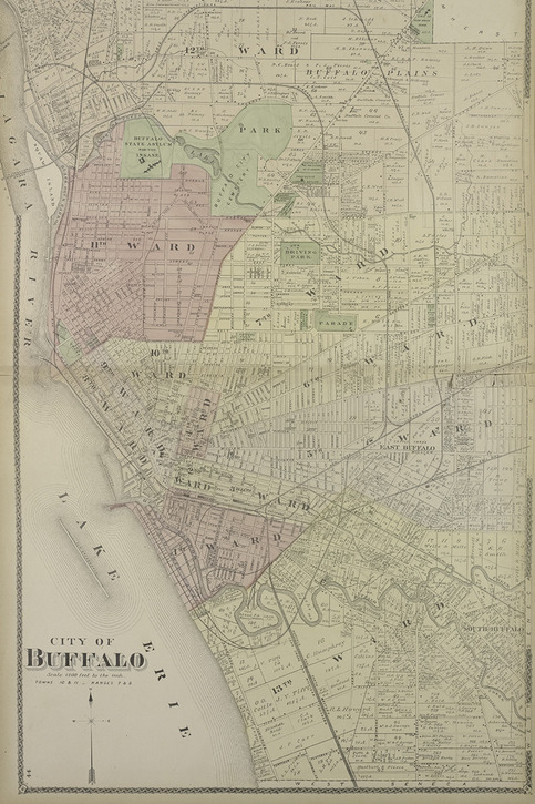 Buffalo New York Vintage Map Circa 1880 On Storenvy