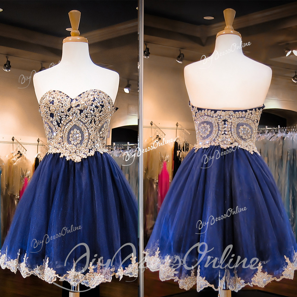New Arrival Sweetheart Neck Gold Lace Homecoming Dress Mini Short ...