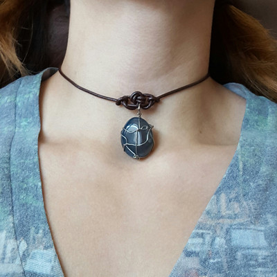 Brown leather cord blue dyed agate cage pendant choker necklace soft grunge boho witch rock