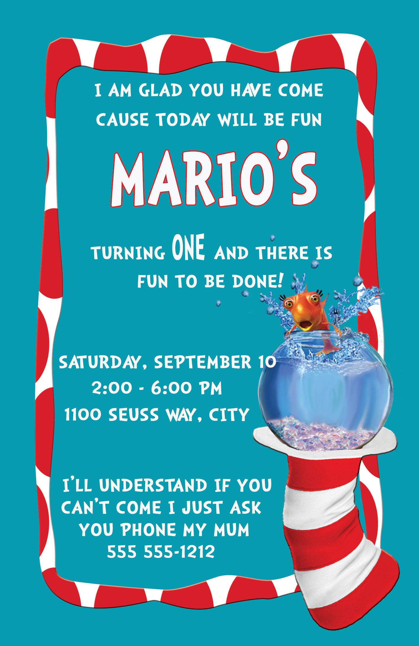 Cat in the Hat Personalized Birthday Invitation 2 Sided, Birthday ...