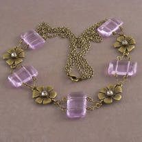 Ametrine & Antiqued Brass Victorian Floral Necklace