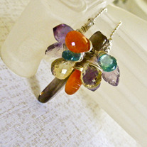 Flowers, onna Stick Gemstone Pendant Necklace