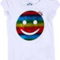 Juicy Couture White T-Shirt W/ Rainbow Smiley Face