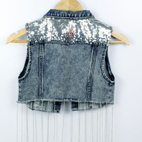 Sequin fringe rip denim vest