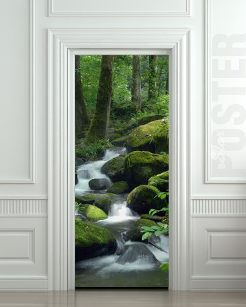 Wall Door Sticker Mountain Stream Landscape Scenery River