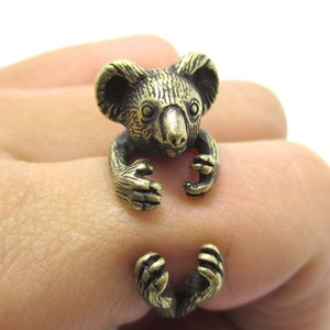 Miniature Koala Bear Animal Wrap Ring in Brass - Size 4 to 8.5