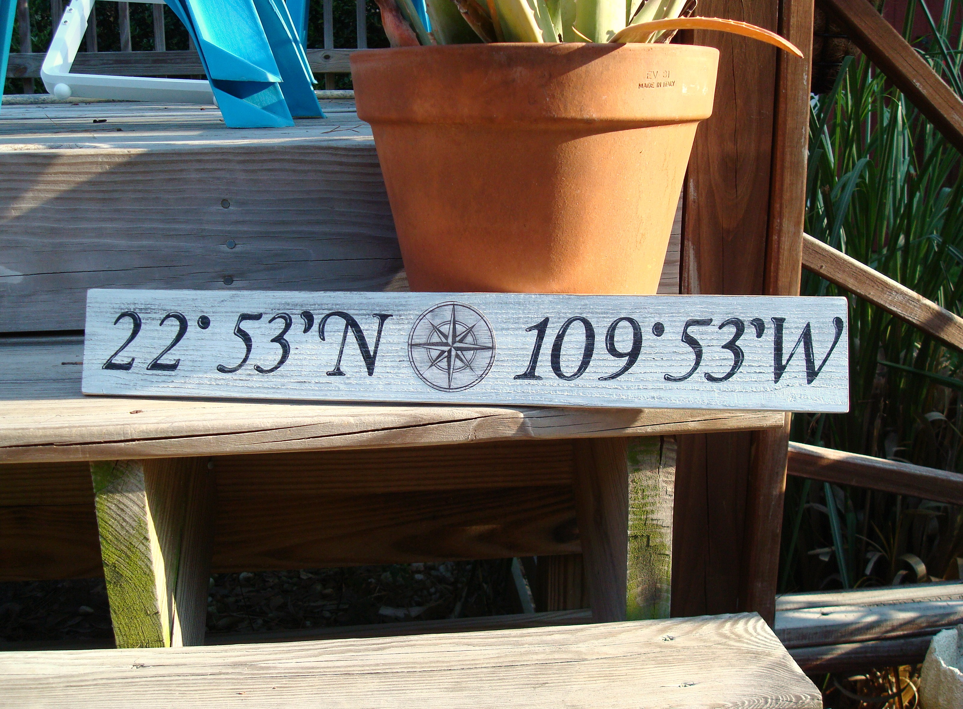 JUSTBEACHYSHOP Custom LatitudeLongitude Vintage Style Sign - Us zip codes latitude longitude