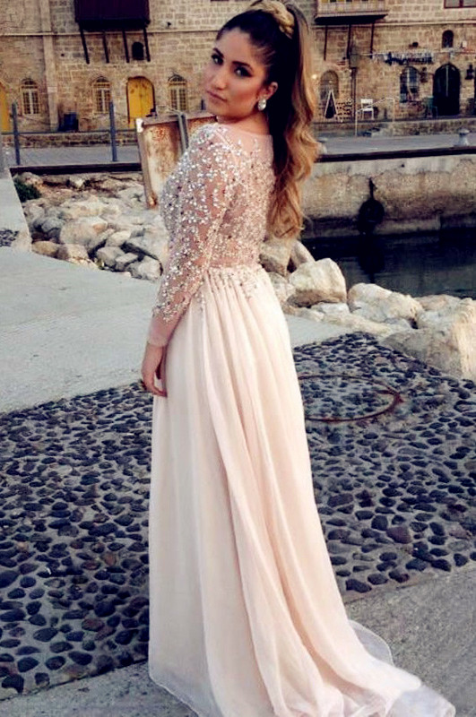 long prom dress, champagne prom dress, long sleeves prom dress ...