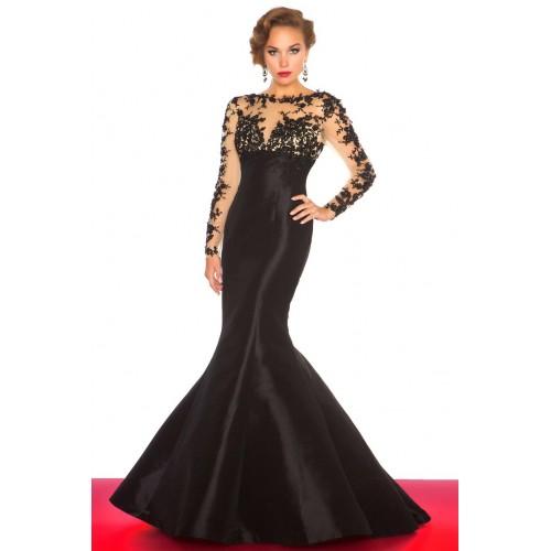 long prom dress, black prom dress, mermaid prom dress, lace sleeves ...