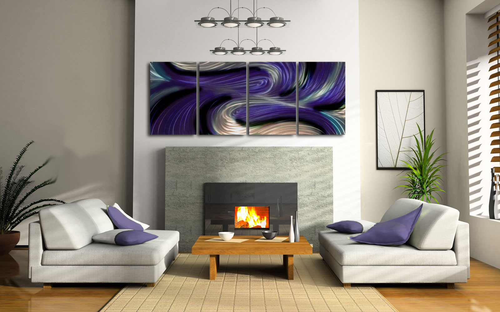 Contemporary Modern Decor Original Echo in Purple Abstract Metal Wall Art