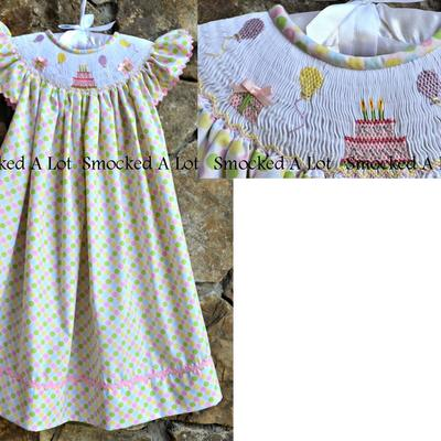 Birthday smocked dress- cake, balloons, presents- pastel polka dots