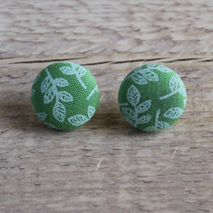 Green Leaf - Button Earrings