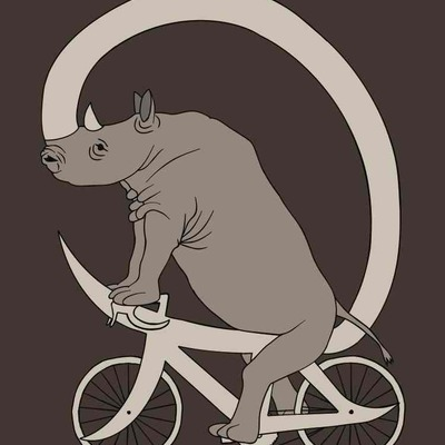 Rhino riding with its horn bike 5x7 print