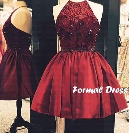 Formal Dress Halter High Neck Red Wine Homecoming Dress Prom