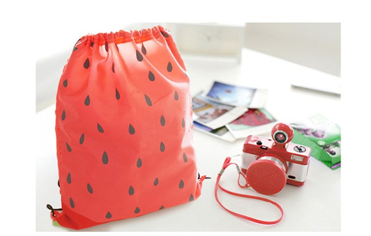Watermelon Polyester Travel Drawstring Bag   Zakka Mart