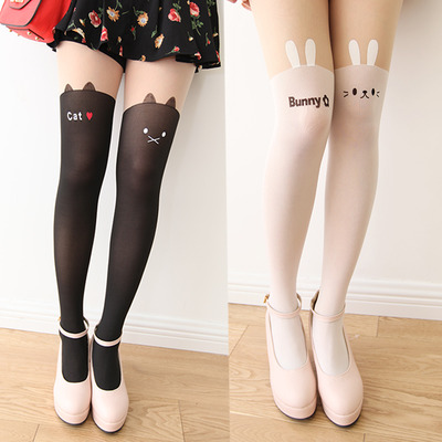 Cat/rabbit head tattoo tights/stockings
