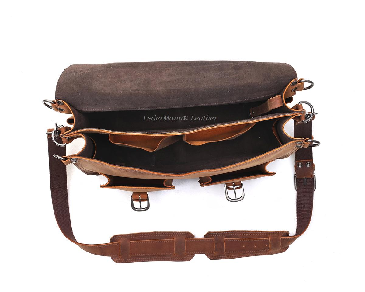 18'' Laptop Messenger Bag - Dark Tobacco Brown Vintage Style ...