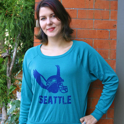 Seattle seahawks womens long sleeve shirt green by revival ink