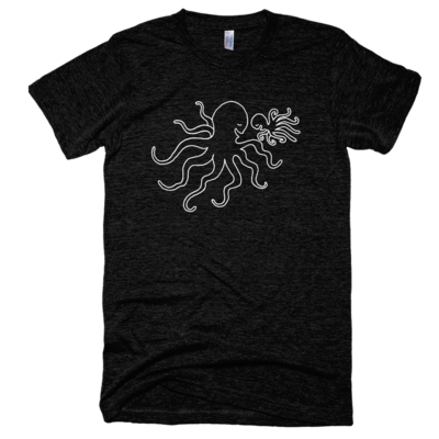 Tri-black octopus dad & baby tee, made in usa