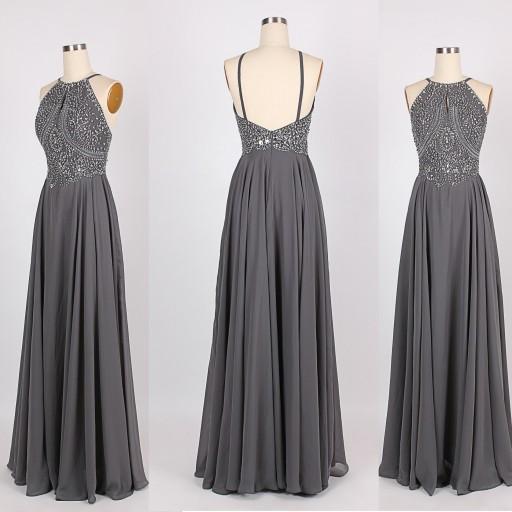 Grey prom dress, backless prom dress, beautiful prom dress, prom ...
