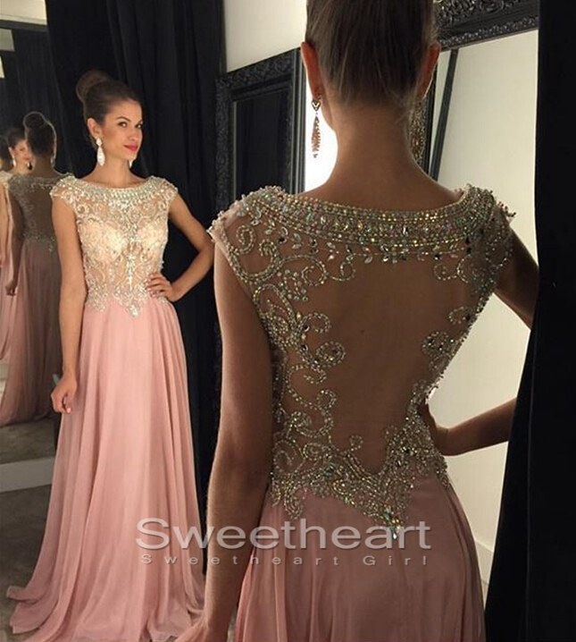 Sweetheart Girl A Line Round Neck Sequin Rhinestone Long Prom