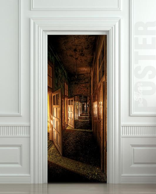 Wall door sticker corridor hall hallway entrance mural decole film self adhesive poster 30x79 - Corridor entrance ...