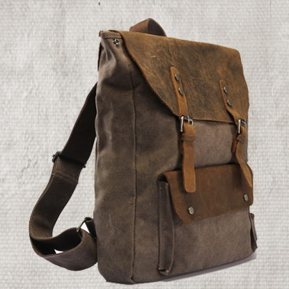 Distressed canvas school backpack | leather flaps hiking pack ...