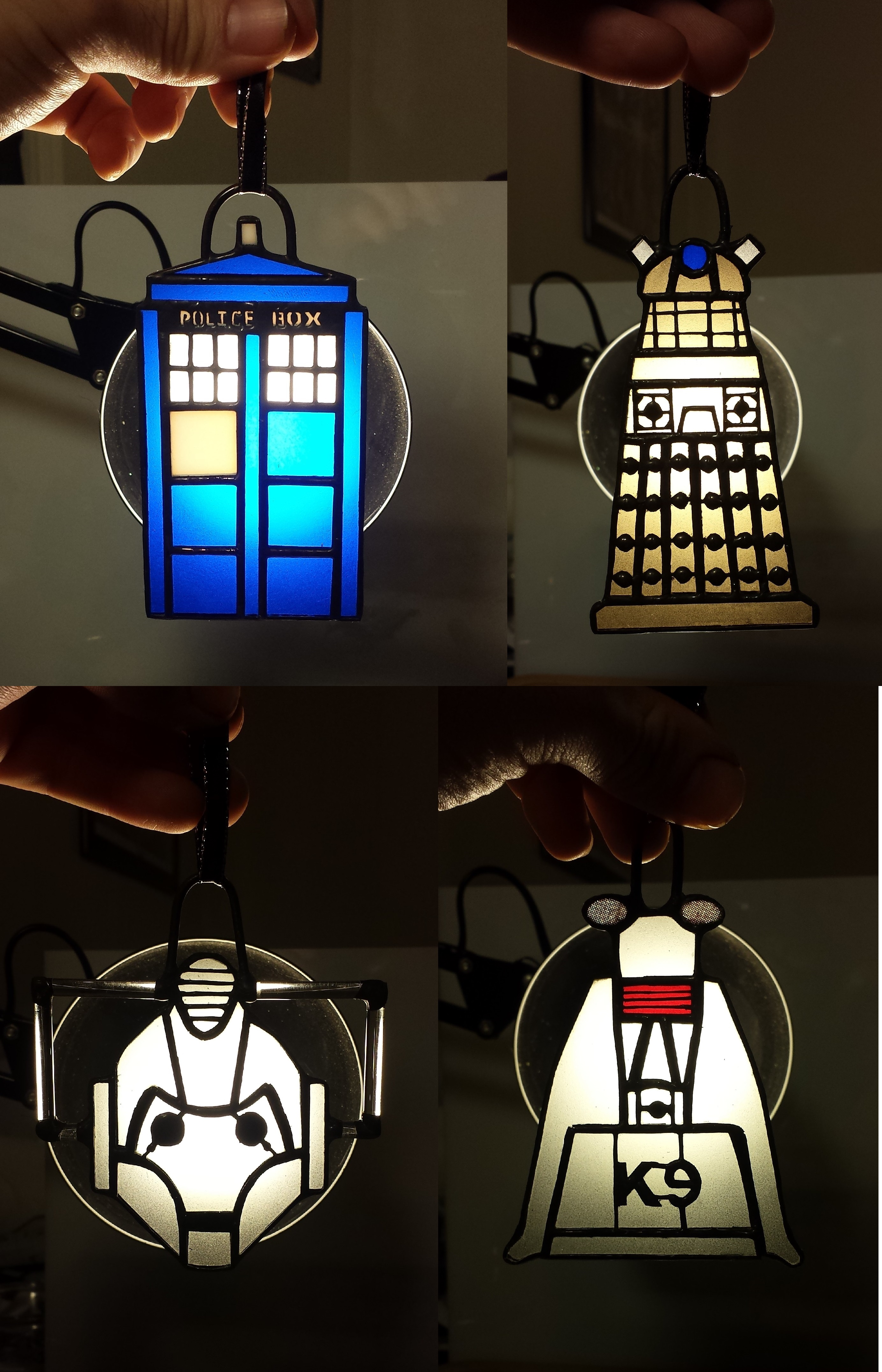 7570114a44f Doctor Who Inspired Stained Glass Ornaments - All 4! · DarkeVitrum ...