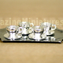"""Silver"" Cups & Platter, 5 Pcs Dollhouse Miniatures"
