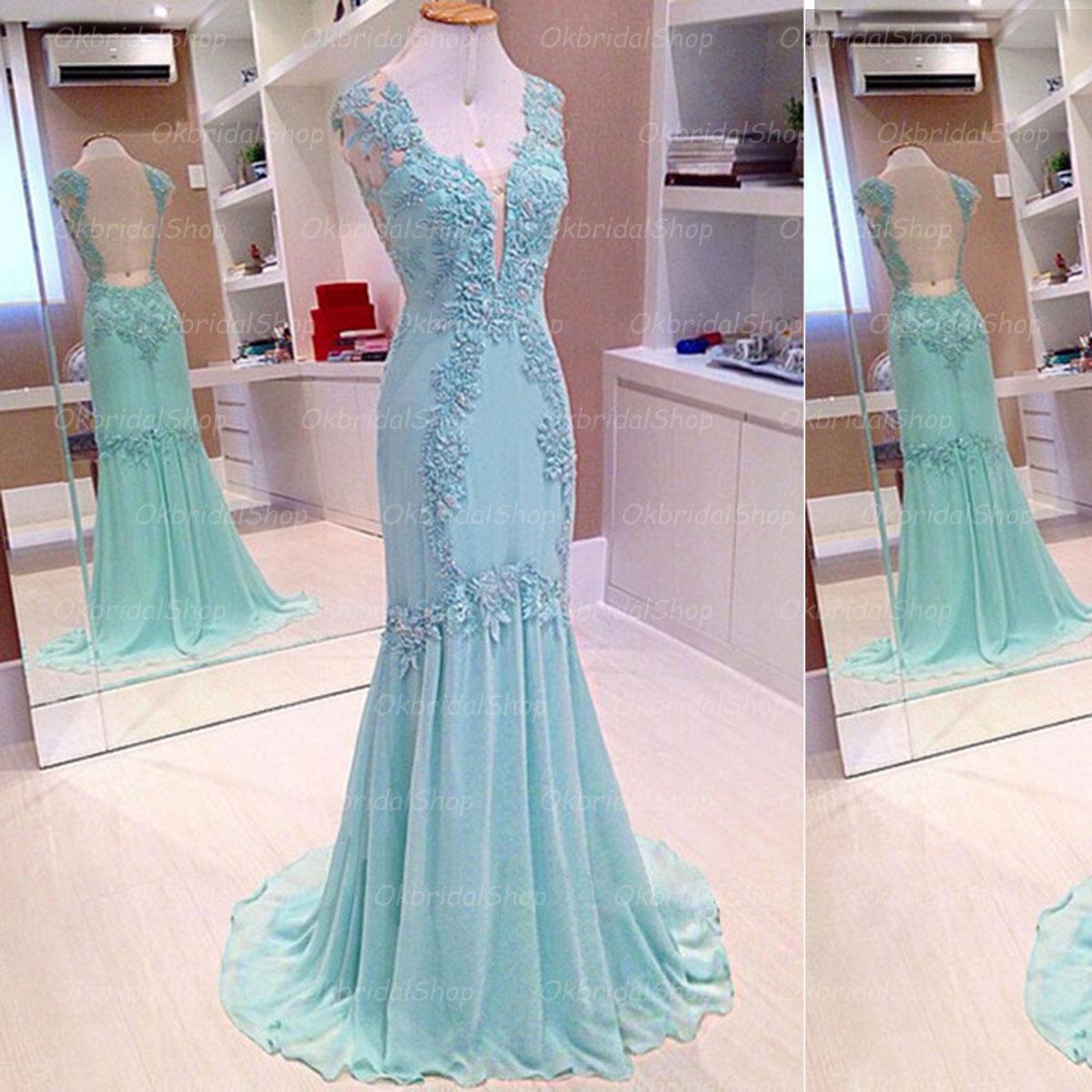 Tiffany blue prom dress, mermaid prom dress, long prom dress ...