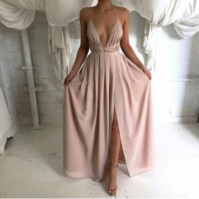 Sexy Backless Prom Dress Long Simple Cheap