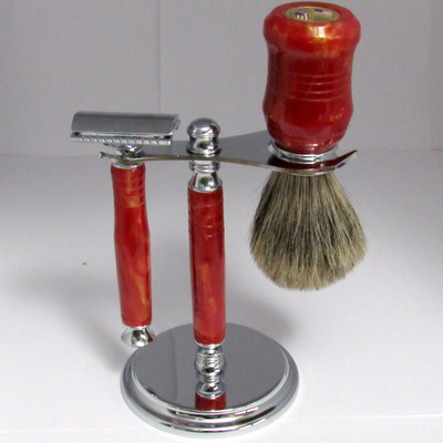 Saftey razor shaving set, with brass  usa flags medallion with shaving dish