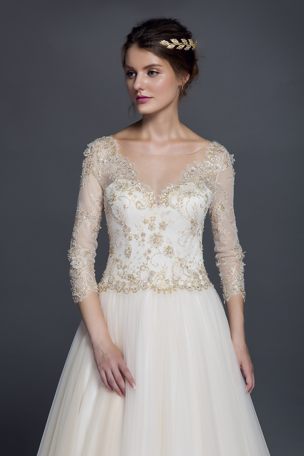 Stunning champagne lace appliqued ball gown winter wedding for Champagne ball gown wedding dresses