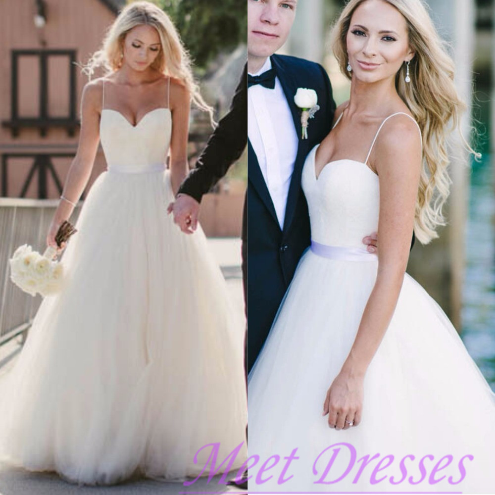 Beautiful wedding dress affordable a line with spaghetti for White summer wedding dress