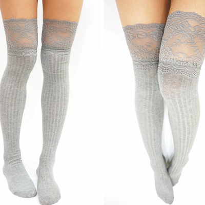 Thigh lace knit knee high socks boot socks -light grey