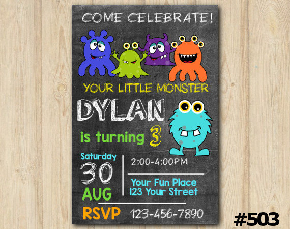 Little Monster Invitation Chalkboard Birthday Party Themed