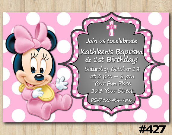 Minnie Mouse Birthday And Baptism Invitation 427