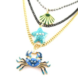 Sea Creatures Themed Crab Starfish Sea Shell Charm Tiered Necklace