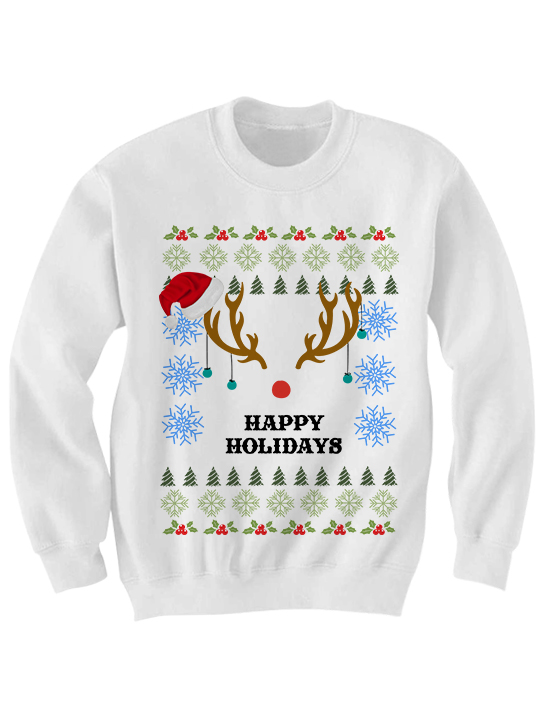 ugly christmas swater happy holidays antlers sweater cheap gifts for men women cheap sweaters christmas gifts