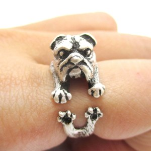 Detailed Bulldog Dog Shaped Animal Wrap Ring in Silver | Size 6 to 9