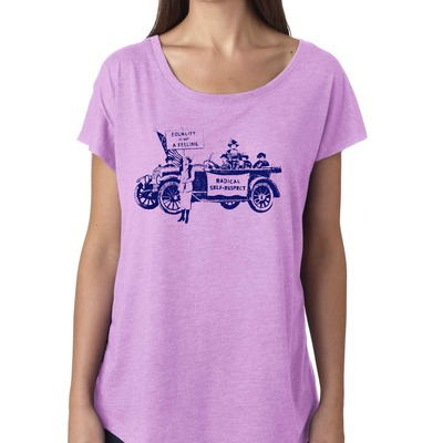 "Feminist tshirt: ""equality is not a feeling"" suffragette shirt (vintage style, lilac) by fourth wave feminist apparel (great gift!)"