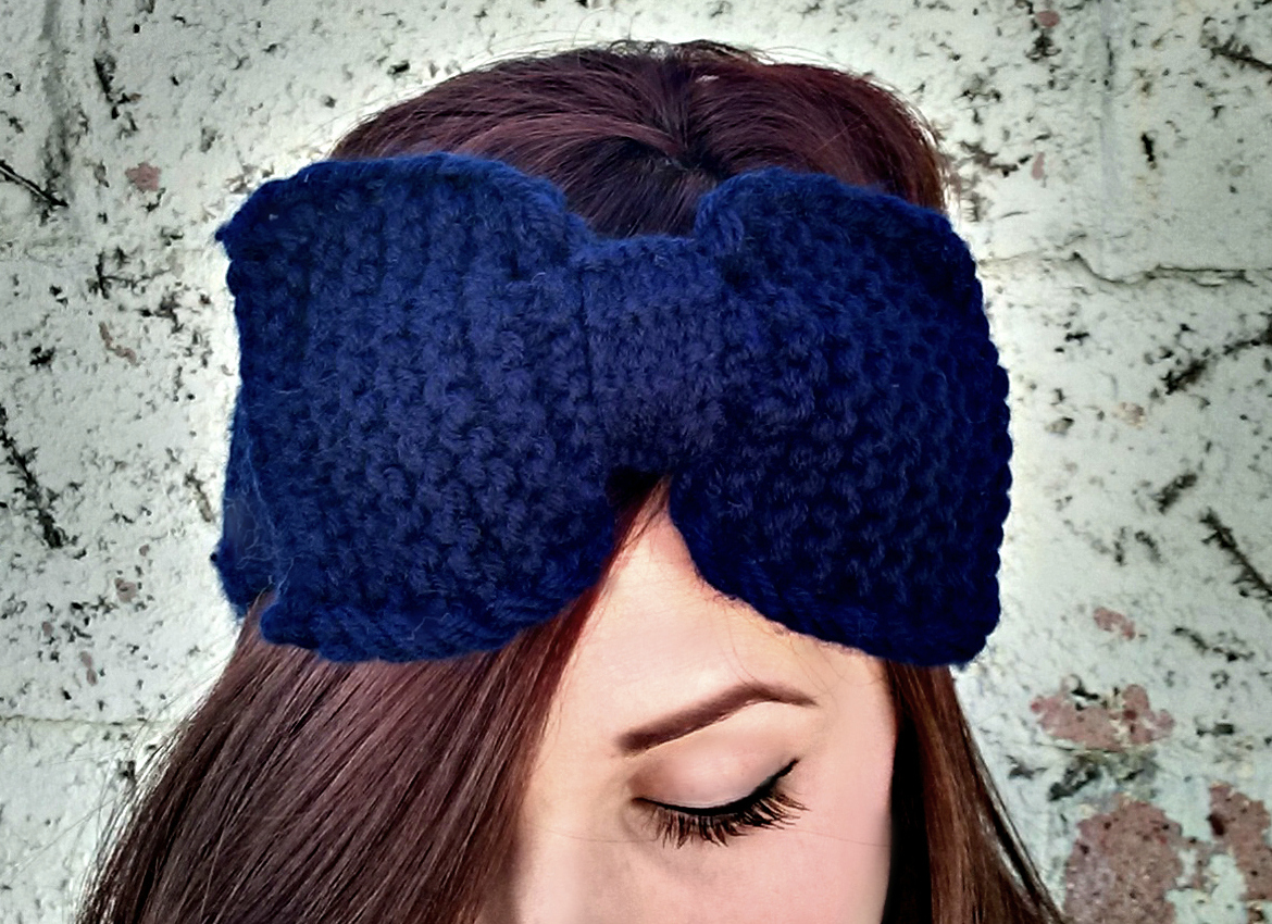 Knitted Headband With Bow Pattern : Knitted bow headband in Navy ? Conquer It Clothing Co ? Online Store Powered ...