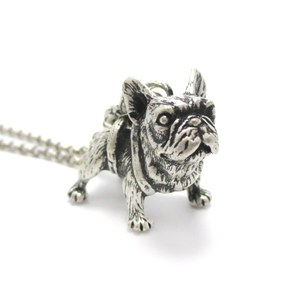 Realistic French Bulldog Miniature Animal Shaped Pendant Necklace in Silver