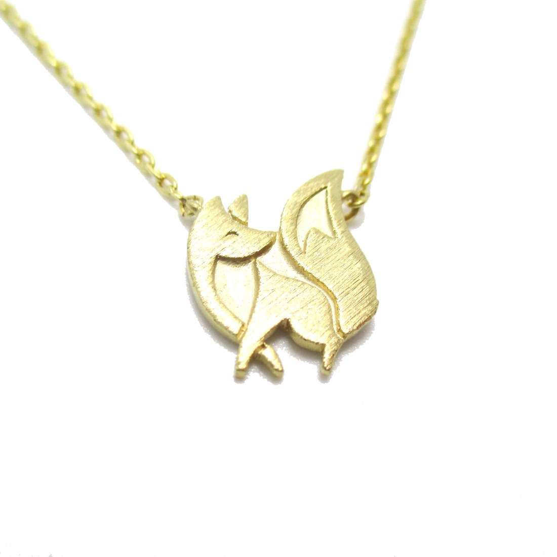 fox silhouette shaped charm necklace in gold