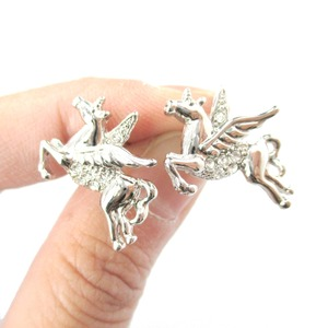 Pegasus Unicorn with Wings Animal Themed Stud Earrings in Silver