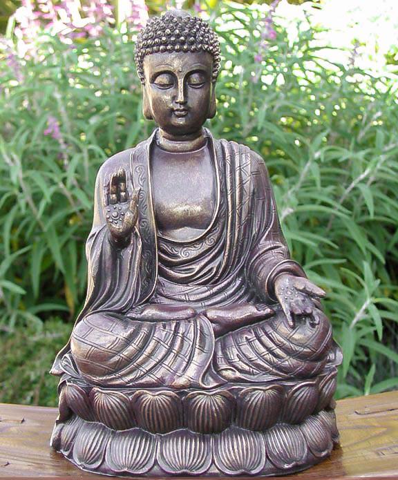 sitting meditating shakyamuni buddha antique bronze finish zen garden statue 4rissa online. Black Bedroom Furniture Sets. Home Design Ideas