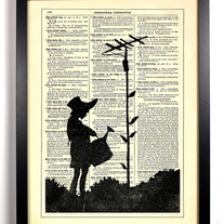 Image of Banksy Power Line Garden, Vintage Dictionary, 8 x 10