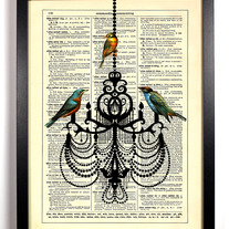 Image of Bird Chandelier, Vintage Dictionary, 8 x 10