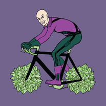 Lex Luthor riding bike with kryptonite wheels, 5x5 print