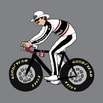Dale Earnhardt riding bike with NASCAR tires, 5x5 print